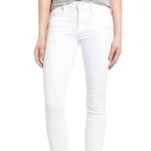 MOTHER Looker Crop Stayin Alive White Skinny Jeans